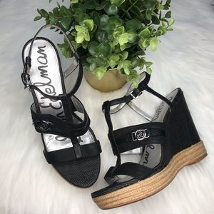 Sam Edelman Black Wedge Heels (see measurements)